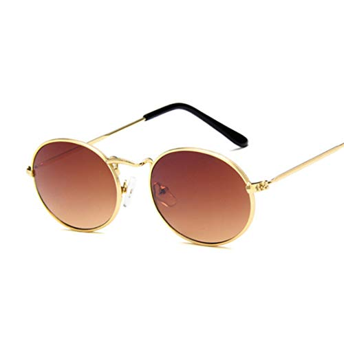 Small Oval Sunglasses Eyewear Metal Frame 100% UV Protection for Women ()