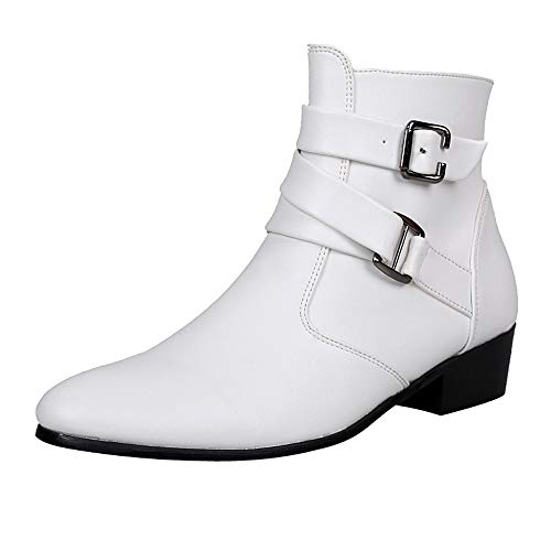 - refulgence Men Work Boots Motorcycle Christmas Boot Western Christmas Shoes(White,US:11)