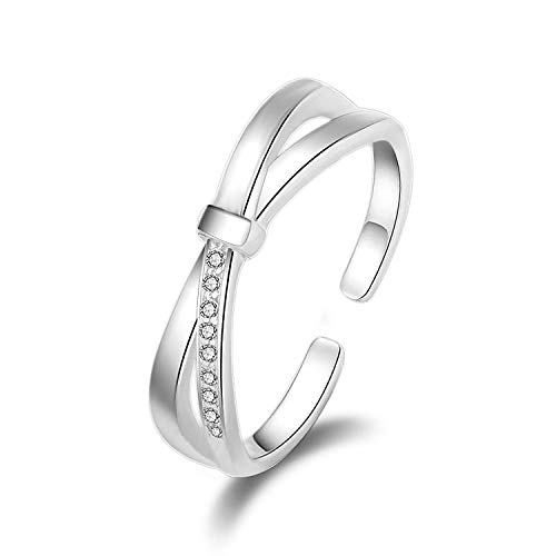 Madeone ✦18K White Gold Plating Excellent Cut Cubic Zirconia CZ Stone Simple Bow Edge Knot Adjustable Rings for Women with Box Packing