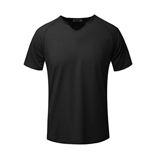 Fashion Men's Short Sleeve Solid Comfortable Casual Slim T-Shirt Sport Tops Black -
