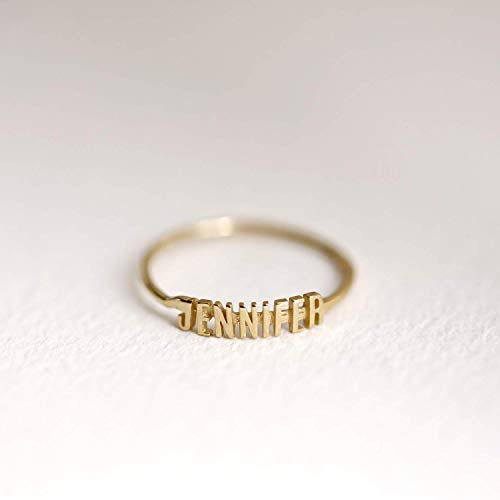 (Monogram Ring, Gold Name Ring, Name Band, 10K / 14K Solid Gold Ring, Personalized Ring, Minimalist Ring, Gifts for)