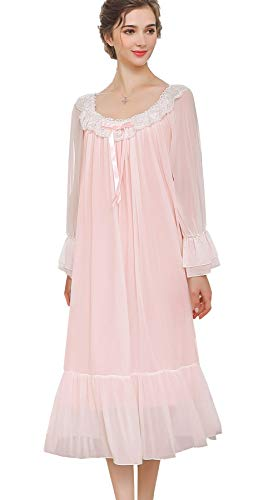 Airvid Women's Lace Vintage Victorian Nightgown Long Sleeve Sleepwear Nightdress Pink L