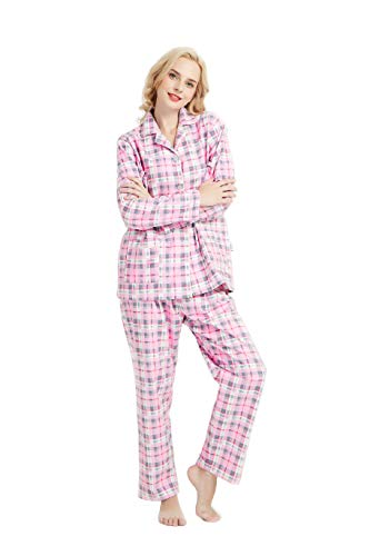 GLOBAL Womens Cotton Pjs Sets, Two Pieces Pajamas Set with Elastic Sleep - Warm Set Up