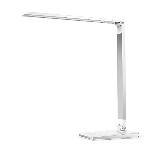 Aptoyu LED Dimmable Desk Lamp with 4 Lighting Modes (Studying, Reading, Relaxing, Sleeping) and 5 Level Dimming, Dual USB Charging Port for Home Office Bedroon Study Relax
