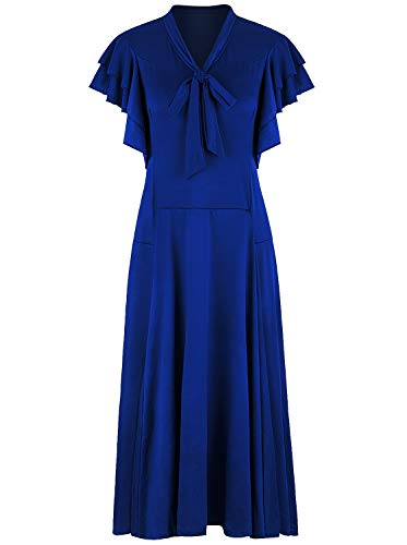 VIJIV Women's Vintage 1920s Midi Flapper Dress V Neck Long Bias Cut Sleeveless with Flutter Sleeves Bowknot Roaring 20s Great Gatsby Dresses Blue