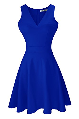 Sylvestidoso Women's A-Line Sleeveless V-Neck Pleated Little Blue Cocktail Party Dress (XS, ()