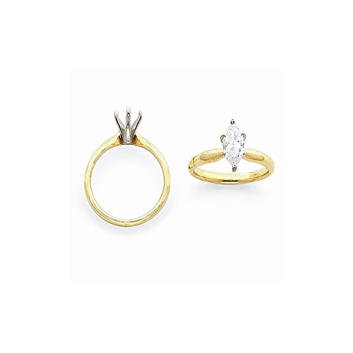 14k Two-tone 5/8ct. Tulip Head Comfort-fit Marquise Solitaire Semi-Mounting, No Center Stone ()