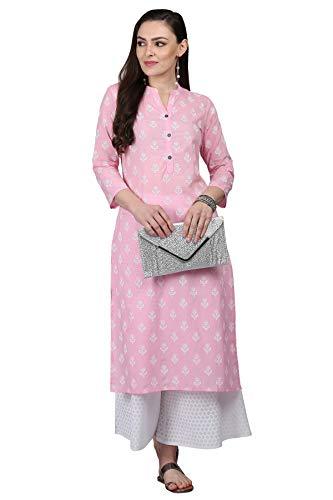 Indian Designer Kurta Kurti Ethnic Top Tunic Party Wear Women Dress Blouse (L) Pink