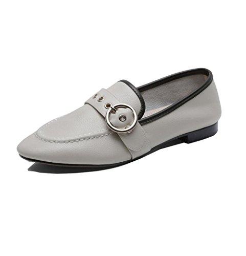 Suave Zapatos Hebilla Solo del la Metal Plana Sin Cómoda Casuales ZFNYY Manera de Zapatos Súper wtqHx