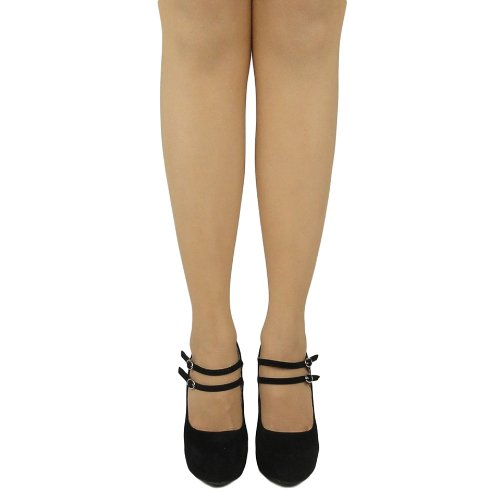 Womens Sexy Glitter Platform Pumps Chunky Heels Faux Suede Black Black uIaA8dvy