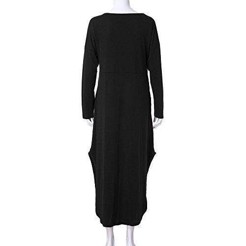 Cuello 2019 Con Vestido Corto De Manga Larga Moda Negro En Casual V Verano Mujer Cóctel Para Elegante Jutoo Color Sólido qFwCgx6