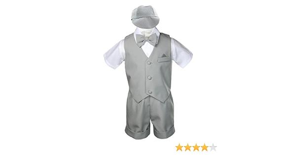 5pc Baby Boys Toddler Formal Vest Shorts Suits Satin Vest White Bow Tie Set S-4T