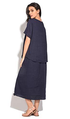 Bleu 100 Lin Marine Robe Femme Snqxwt7ZqX
