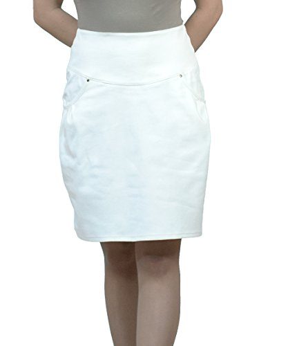 Dcontracts Boutique Fashion Longueur au Genou Blanc Denim vase Jupe EU 36 38 40 42 44 46 48 50