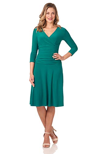 Rekucci Women's Slimming 3/4 Sleeve Fit-and-Flare Crossover Tummy Control Dress ()