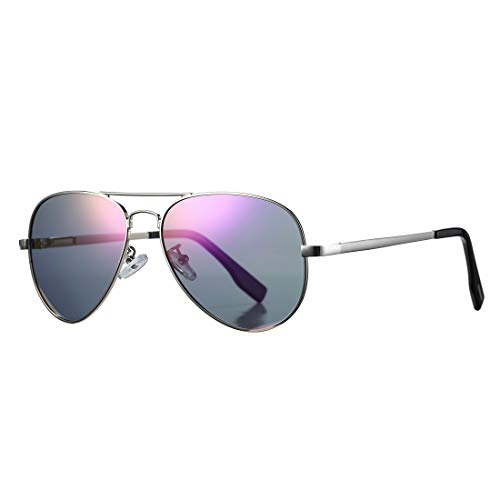 Polarized Aviator Sunglasses for Men Women with Spring Hinge Legs, UV400 Protection (Silver Frame/Purple Mirror ()
