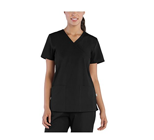 Tru Scrubs Ladies 2-Pocket Mock Wrap Scrub Top (Medium, Black) (2 Pocket Mock Wrap)