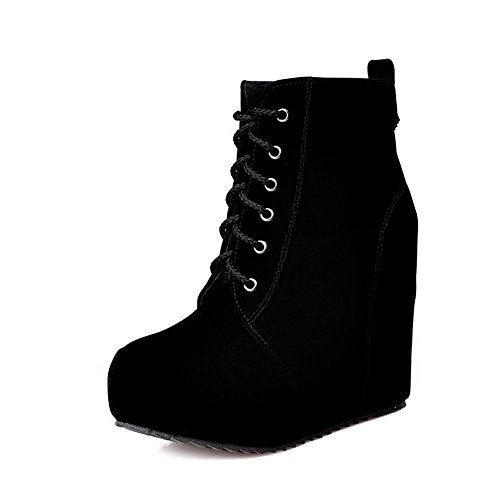 Black Boots Lace High Heels Solid Frosted Toe up Closed Women's Round AgooLar ZSqwPBO