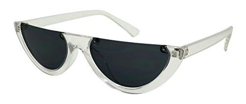 Edge-I-Wear Retro Inspired Plastic Oval Half Frame Cut-off Sunglasses w/Flat lens - Sunglasses Lense Oval Flat
