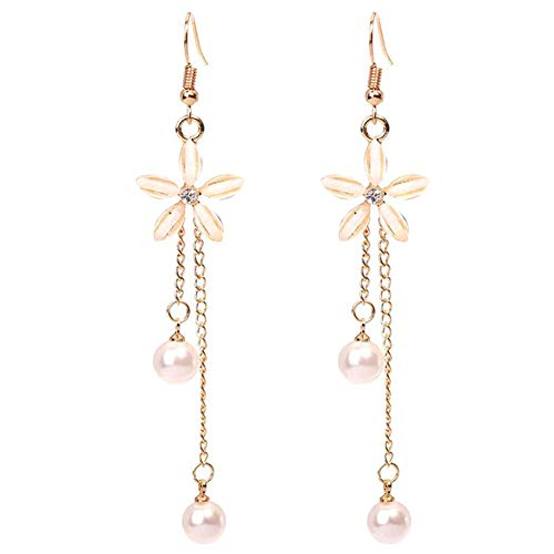 (CICINIO Women's Flower Shaped Long Dangle Earrings, Hypoallergenic Freshwater Cultured Pearl Earrings Great Gift for Girls)
