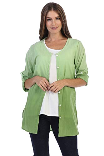 Fashion Focus Cotton Voile Roll-Up Sleeve Button-Down Shirt