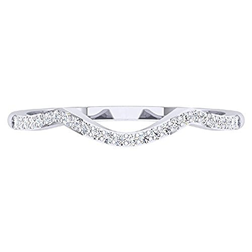 0.15 ctw 18K White Gold Plated Round Cut Created White Diamond Ladies Anniversary Wedding Stackable Band Contour Guard Ring by Dezneyjewels