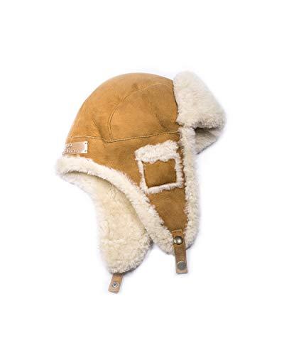 Pelo Y Con Aviador Española Unisex Coolskins Rizado Adulto Camel Gorro Invierno Cuero Piel Reversible Cordero 100 Confección YWUqxp