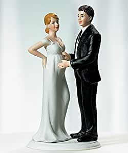 "Pregnant Bride Cake Topper - ""Expecting"" Bridal Couple"