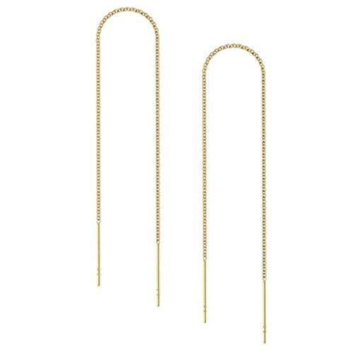 4pcs 14k Gold on Sterling Silver Cute Ear Threads Long Chain Dangle Bar Earrings | 6 inch Drop Earring Threader Jewelry Findings SS339-6