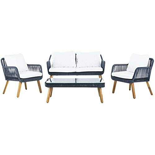 JumpingLight Aldric 4 Piece Patio Sofa Set in Navy and Teak Brown Durable and Ideal for Patio and Backyard ()