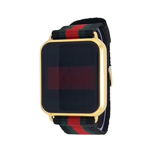 Techno Pave 14K Gold Plated Touch Screen Luxury Designer Style Nylon Band Wrist Watch 14k Diamond Wrist Watch