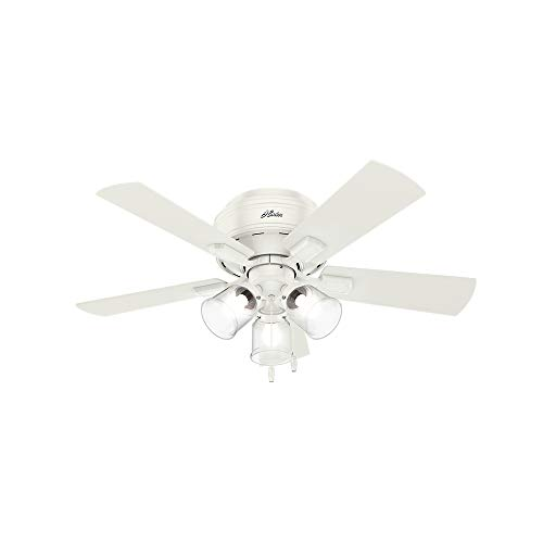 Hunter Indoor Low Profile Ceiling Fan, with pull chain control - Crestfield 42 inch, White, 52152 ()