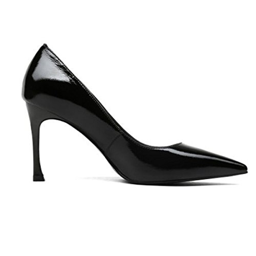 En Noir Partie Talons Noirs Chaussures De Hauts Sexy Profondes Pointu Bout Cuir Femmes Bureau Travail Escarpins Verni Peu De RzqnwUff