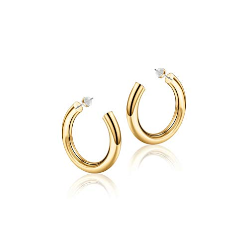 Hoop Earrings for Women - 14K Gold Plated Lightweight Chunky Open Hoops 316L Surgical Stainless Steel Post Thick Hoop Earrings Gold/White Gold/Rose Gold Hoop Earrings for Women 20/25/30/40/50/60mm