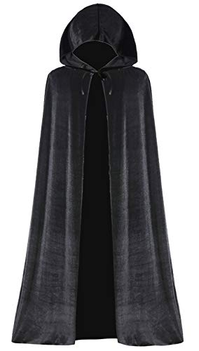 Lelike Black Cape Hooded Cloak with Hood for Witch -