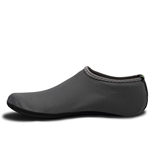 Equick Eau Chaussettes Durables Aqua Palmes Pieds Nus Chaussures Nouvelle Version Mise À Jour Taille Plage Piscine Natation Surf Yoga Exercice 3 Gris