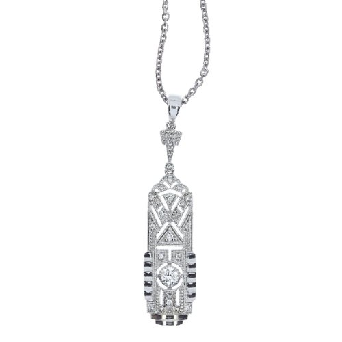 Art Deco Pendant Gold (14K White Gold Art Deco Diamond Dangle Pendant with 18