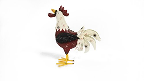 Red and White Metal Rooster Decor