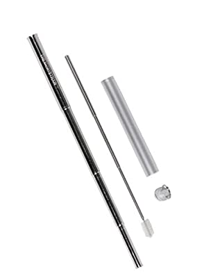 THEshortSTRAW Eco-Friendly Telescopic Reusable Straw | Aluminium Keychain Case | Portable Personal Stainless Steel Straw | Easily Adjustable Straw For all types of Cups | Telescoping Cleaning Brush