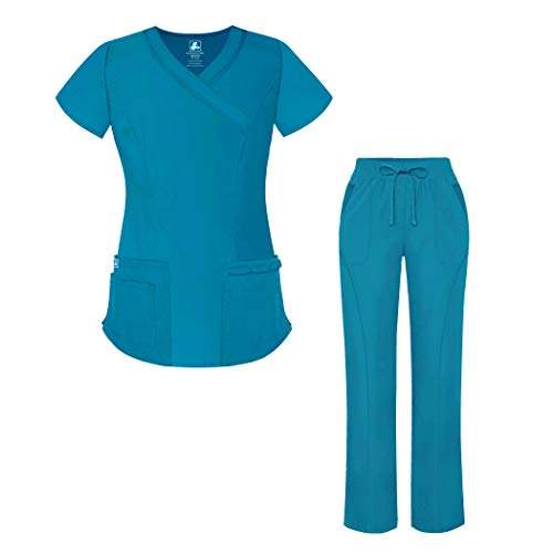 Adar Universal Women's Scrub Set - Mock Wrap Scrub Top and Straight Leg Scrub Pants - 905 - Teal Blue - L