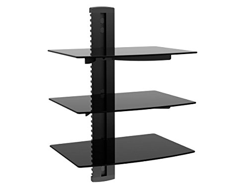 Monoprice 110480 UL Certified 3 Tier Electronic Component Glass Shelf Wall Mount Bracket with Cable Management - Glasses Components