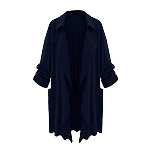ZKOO Bleu Taille Fonc Grande Veste Dcontracte Femme Manteau Automne Manches Coat Printemps Longues Trench Et rwqrxTaA
