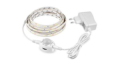 Tira luz led blanco calido con enchufe y sensor de movimiento 3 m bajo camas,