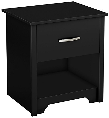 - South Shore Fusion Nightstand, Pure Black with Grooved Metal Handles