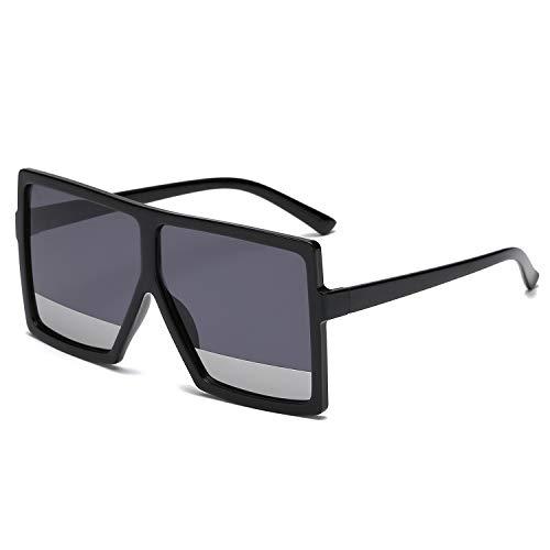 GRFISIA Square Oversized Sunglasses for Women Men Flat Top Fashion Shades (Black Frame- Black Silver Lens, ()