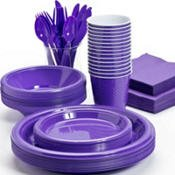 Pans Pro Tableware 48 Serving Party Set, Forks, Spoons, Knives, Plates, Bowls, Cups, Napkins, Tablecovers (Hydrangea)