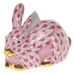 Herend Bunny Figurines (Herend Figurine Mini Bunny Rabbit Lying Raspberry Fishnet)