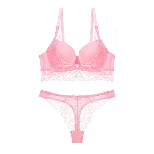Fivemiles Women Sexy Underwire Push Up Bra and Panty Set Pink