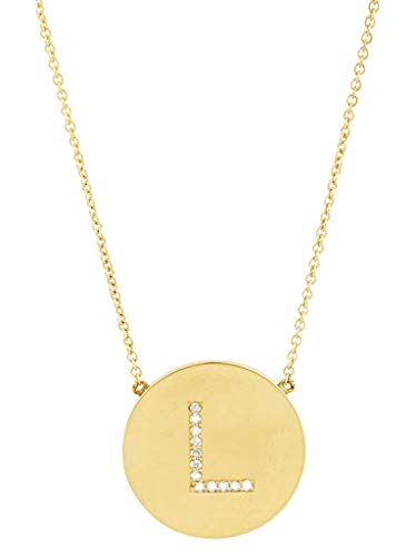 (Sterling Forever - .925 Sterling Silver with Gold Vermeil Plating CZ Round Initial Necklace)