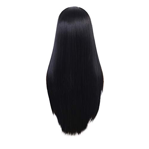 Weiweidian Natural Lace Front Synthetic Wig Fashion Women Black Straight Long -